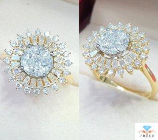 แหวนเพขรหน้ากว้าง ดอกทานตะวัน