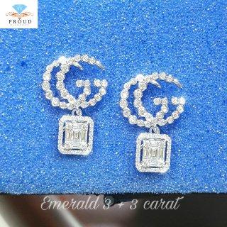 ต่างหู รุ่น GUCCI Diamond Emerald 3 + 3 carat
