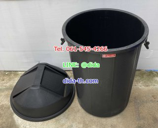 ถังขยะทรงกลมฝาแกว่ง 100 ลิตร สีดำ