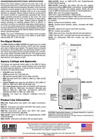 สัญญาณเตือนภัยดึงมือ รุ่น NBG-12 Manual dual Action